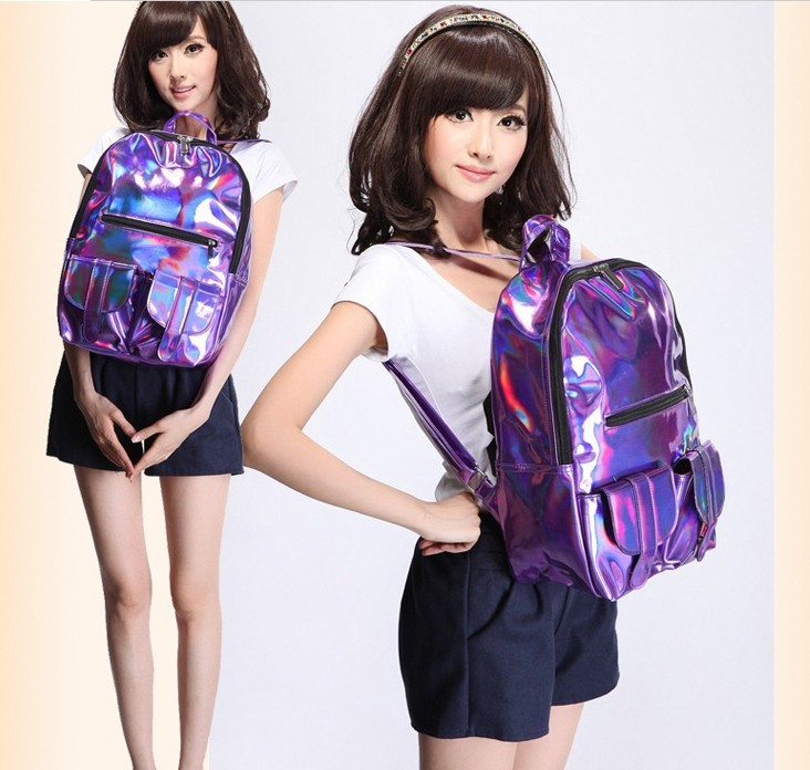 Aliexpress.com : Buy 2014 New Design Silver Hologram Laser Backpack Bag Leather Bag Multicolor Silver Business Zipper Backpack from Reliable backpack camera bag suppliers on Online Store 935693