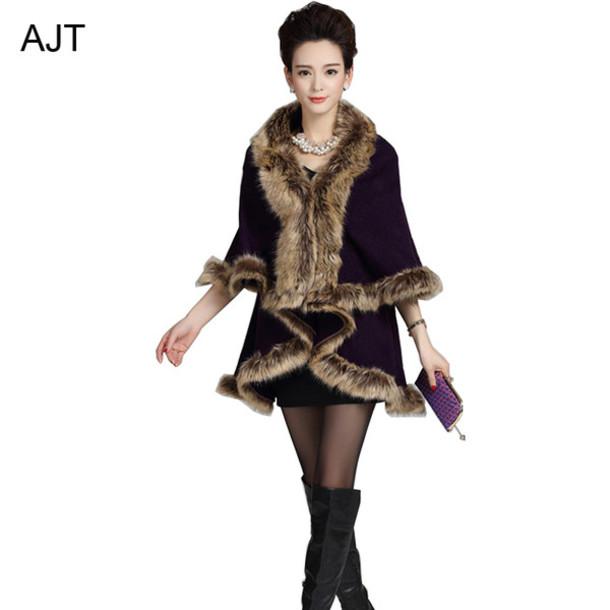 cardigan faux fur neck shawl open stitching shawl knitted faux fur cape winter cape knitted winer shawl fashion shawl cloak cloak shawl