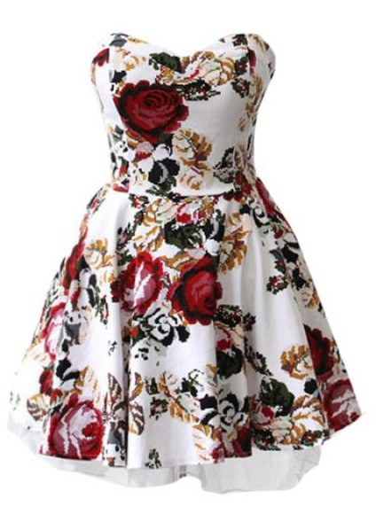 floral white dress floral print dress red roses short dress prom dress red dress flowers short party dresses