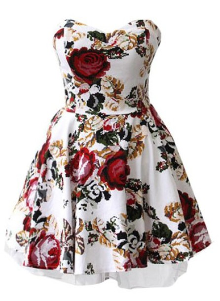 Floral Roses Dress Dress White Red Roses Short