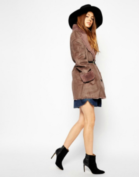 asos asos coat Belt oversized fluffy oversized coat brown coat brown coat fake fur winter