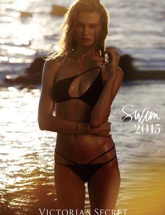 victoria's secret model black bikini top behati prinsloo