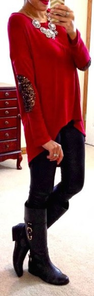 elbow patches sequins red sweater