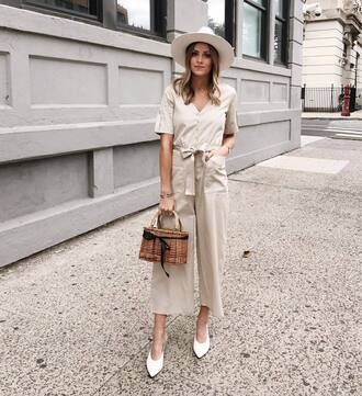 jumpsuit white shoes tumblr nude jumspuit cropped jumpsuit shoes bag basket bag hat felt hat