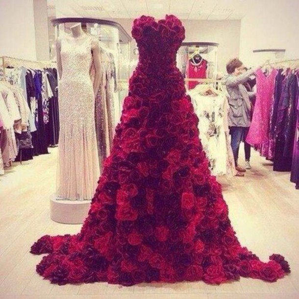Dress: shades of red, rose, long, roses - Wheretoget
