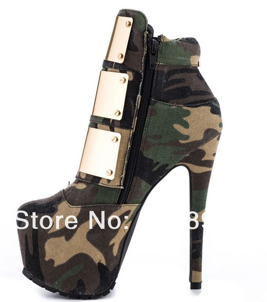 Newest fashion buckle ankle military boots for women platfrom high ...