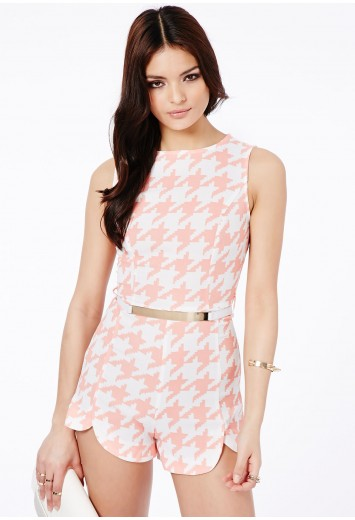 Zuzka dogtooth tailored belted playsuit