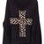 Black Long Sleeve Leopard Cross Embroidery Sweater - Sheinside.com