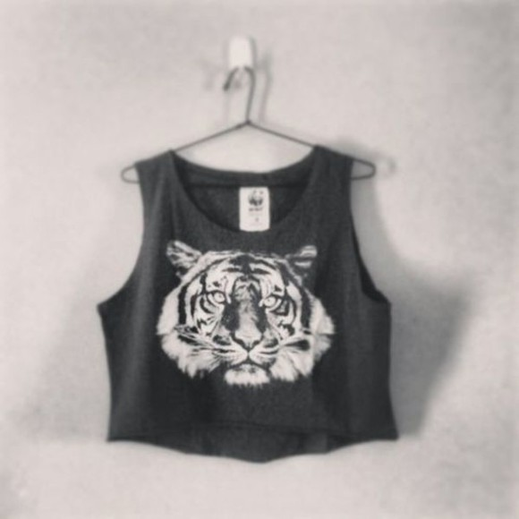 tiger tank top lion crop tops