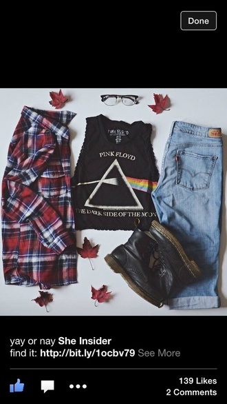 tank top t-shirt top crop tops grunge boho combat boots boots black boots plaid fall outfits jeans high waisted jeans pink floyd