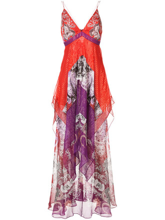 gown women layered silk red dress