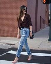 chictalk,blogger,shoes,top,jeans,sandals,high heel sandals,shoulder bag