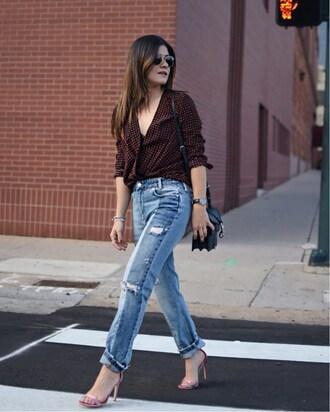 chictalk blogger shoes top jeans sandals high heel sandals shoulder bag