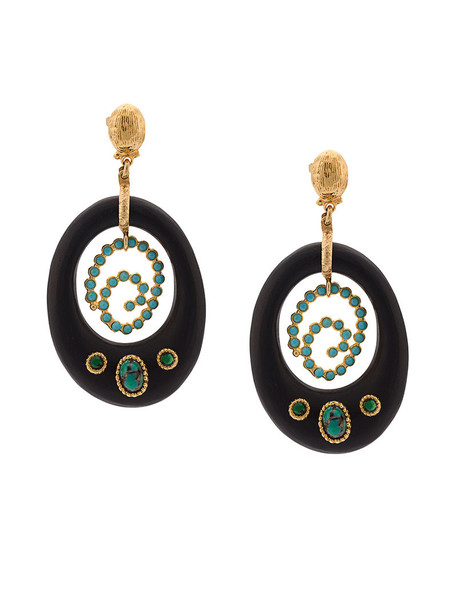 Gas Bijoux wood women embellished earrings gold black jewels