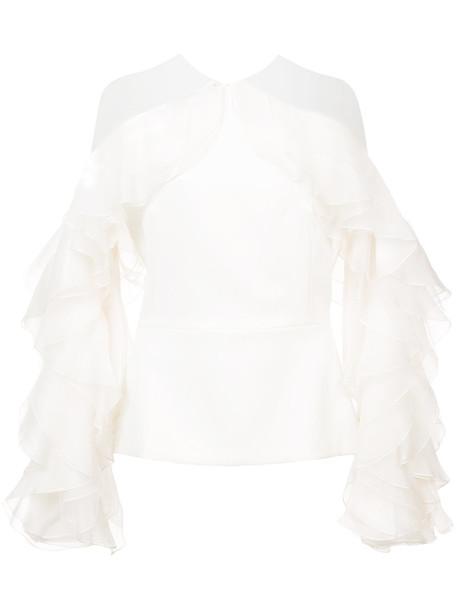 Marchesa blouse women white silk top