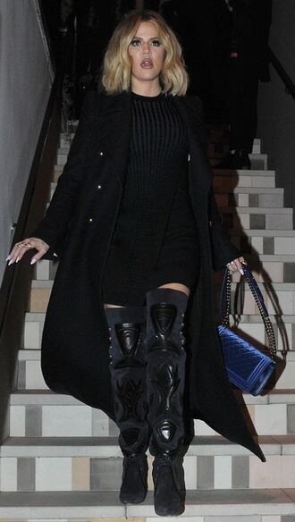 shoes boots coat all black everything khloe kardashian