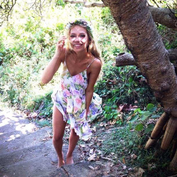 dress summer dress colorful forest bushwalk