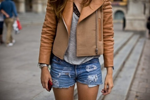 jacket brown jacket shorts