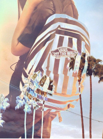 vans girl vans girls bag stripes black and white school bag backpack palm tree print