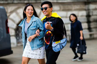 skirt bryan boy blogger streetstyle fall outfits fashion week 2016 fashion week london fashion week 2016 white skirt mini skirt grey top denim jacket denim blue jacket printed sweater sweatshirt bag blue bag menswear mens top sunglasses