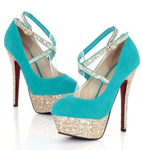 Shoes: turquoise, aqua, pumps, heels, blue, sparkle, sequins ...
