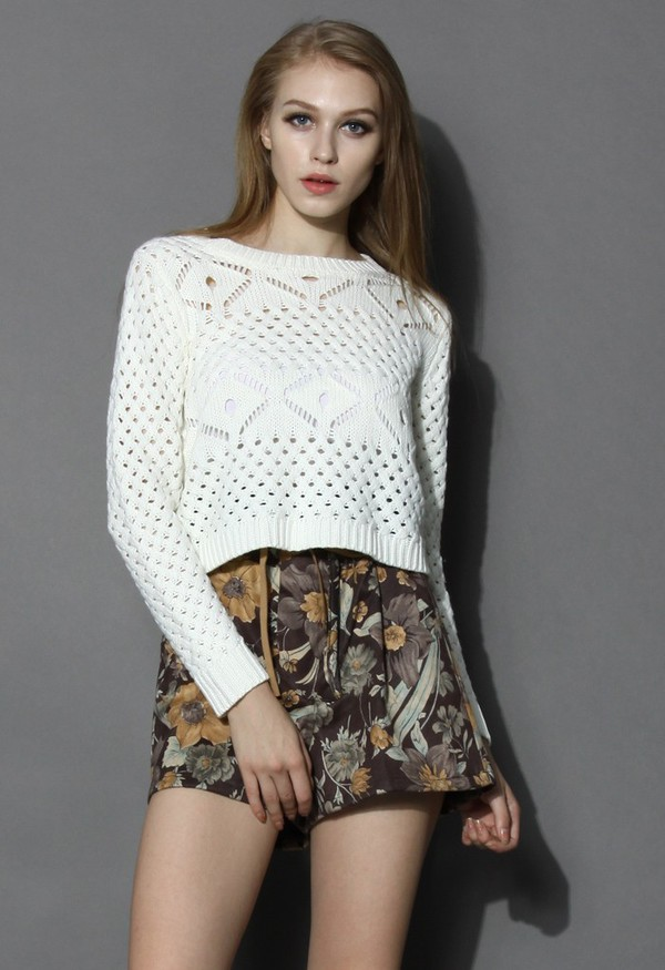 chicwish crop sweater in white open knit sweater