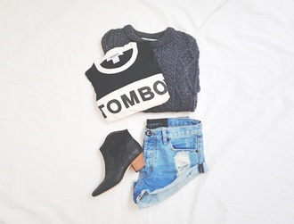 t-shirt outfit tomboy white black black heels booties short boots wood heel short shorts jeans sweater grey cool blouse tomboy shirt shorts