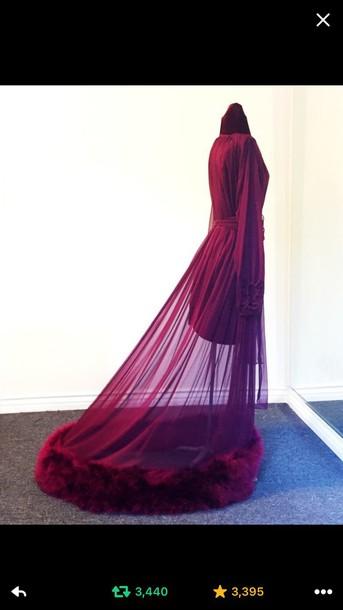 935fa17a0a pajamas robe burgundy lingerie robe underwear lace lingerie blouse purple  pourpre lingerie homewear violet fur robe