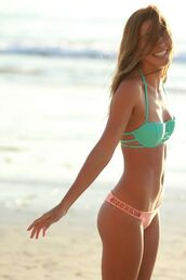 swimwear,bikini,bandeau bikini,bandeau,orange,top,panties,cut-out,neon,pastel,cute,turqoise,cut-out swimsuit,coral,teal,blouse,summer,mint,strappy bikini,bikini top,pretty,swimmers,aqua,green,pink,blush,sea,beach,sun,jewels,sweater