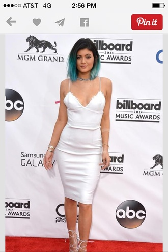 kylie jenner shoes dress kylie jenner dress white dress bodycon dress spagetti straps mid length dress high heels white heels strappy white heels white lace up heels