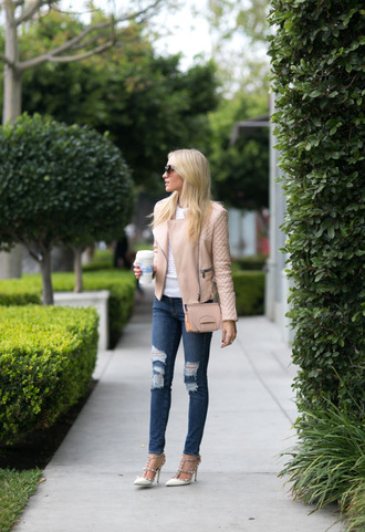 angel food blogger pink jacket ripped jeans pink bag