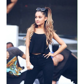 jeans,high waisted jeans,blouse,ariana grande,round glasses,balck,balck tank top,sunglasses,top,shirt,tank top,black,vest top,black top,pants,crop tops,black jeans,black high waisted jeans,beautiful,pretty,black high waisted pants,black crop top,style,leggings,jeggings