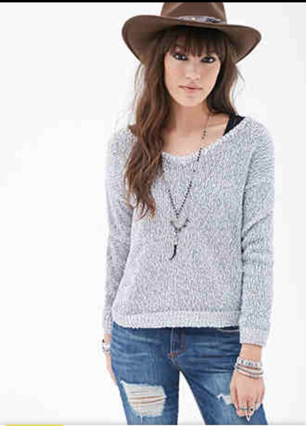 jeans neck sweater forever 21 f21 trendy sweater jeans