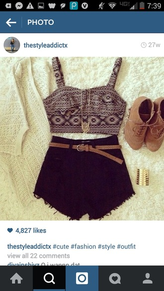 top crop tops shorts tribal top tribal crop top black shorts black high waisted shorts cute summer beach