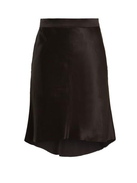 RAEY Bias godet silk-satin slip skirt in black