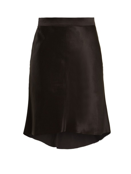 skirt silk satin black