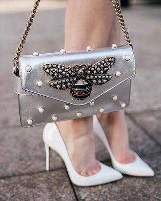 bag tumblr metallic silver silver bag embellished embellished bag pumps pointed toe pumps high heel pumps white heels chain bag shoes insects embroidered pearl