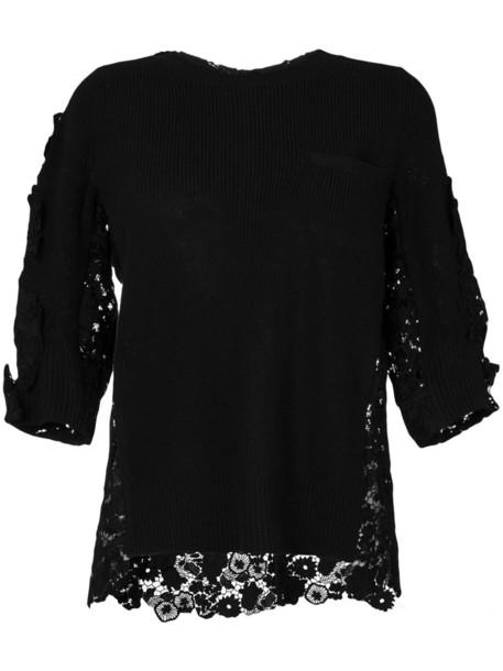 Sacai sweater women lace cotton black wool