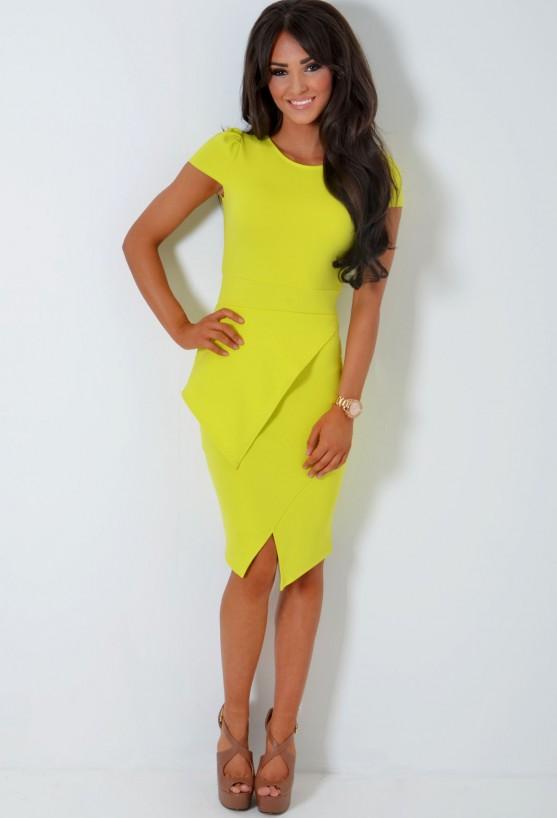 Narci Acid Lime Green Split Hem Peplum Bodycon Midi Dress | Pink Boutique