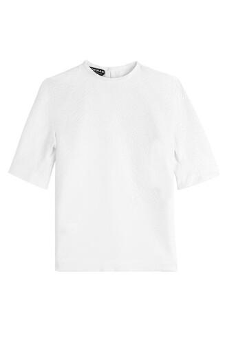 top jacquard silk white