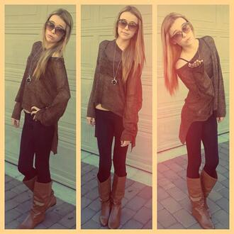 shoes sweater acacia brinley sunglasses boots shirt pretty knit cardigan knitted sweater