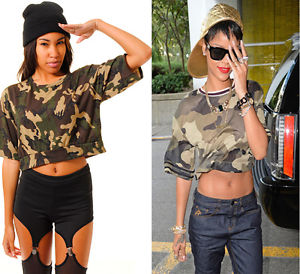 New womens camo crop top oversize camouflage crop top celeb army crop top 8