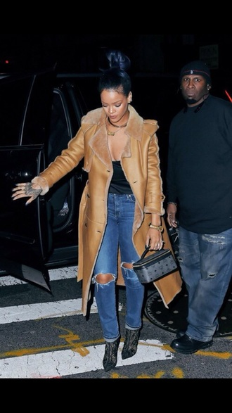 coat tan trench coat winter coat rihanna suede jacket