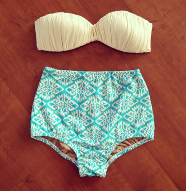 swimwear swimwear cute teal blue design white bikini high waisted bikini high waisted swimwear bandeau bikini bandeau beige