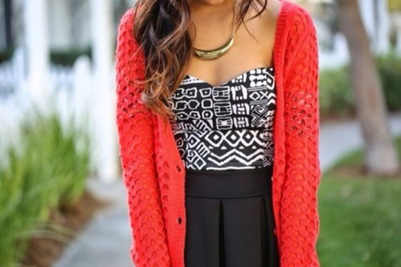 coral black orange summer t-shirt knit skater skirt tribal pattern aztec pattern