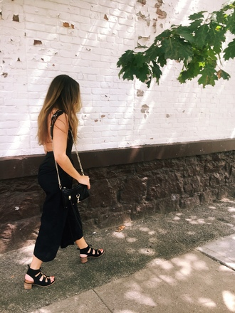 jumpsuit open back jumpsuit backless sandals blogger blogger style crossbody bag sexy jumpsuit date outfit