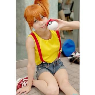 pokemon cosplay misty yellow yellow shirt suspenders loose top loose poke ball