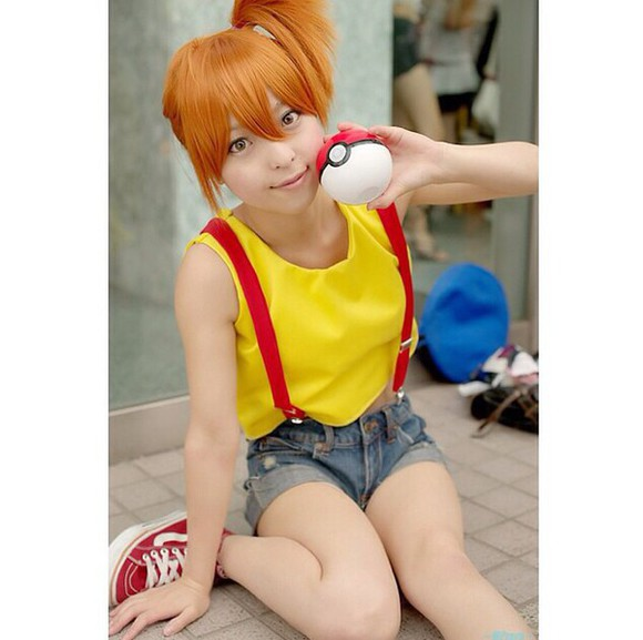 yellow yellow shirt pokemon cosplay misty suspenders loose top loose poke ball