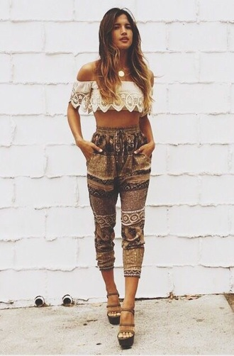 pants aztec shirt shoes boho chic bohemian pant bohemian hippie indie bohemian pants summer pants beach pants beach