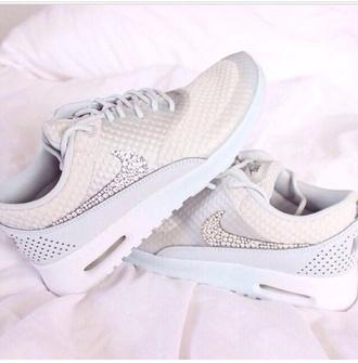 shoes white nike diamonds